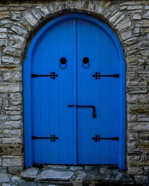 Door, Wooden, Blue, Doorway, Entrance, Architecture