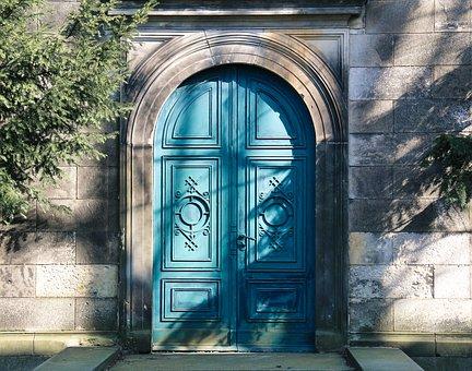 Door, Blue, Wood, Portal
