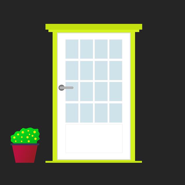 Door, Flowerpot, Front Door, In Front Of The Door