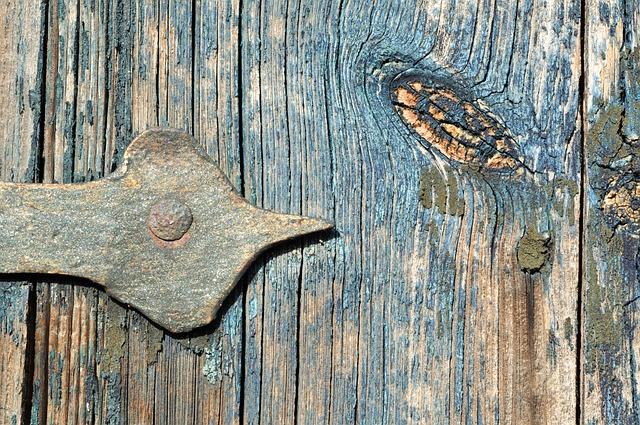 Door Hinge, Wood, Door, Blue, Metal, Painting, Open