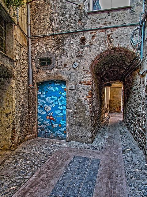 Albenga, Square, Piazza, Italy, Liguria, Door, Painting