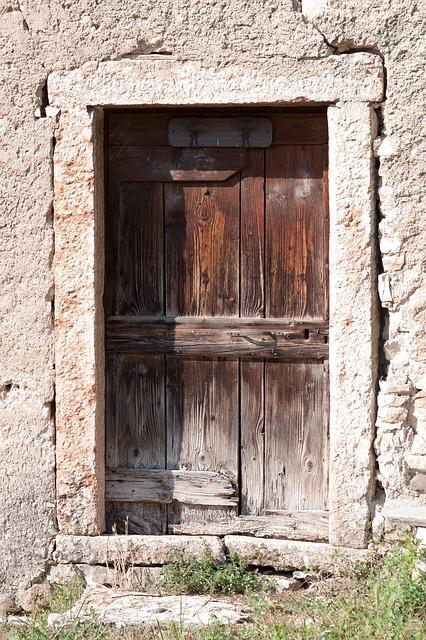 Door, Old, Wood, Old Door, Input, Handle, Iron, Stone
