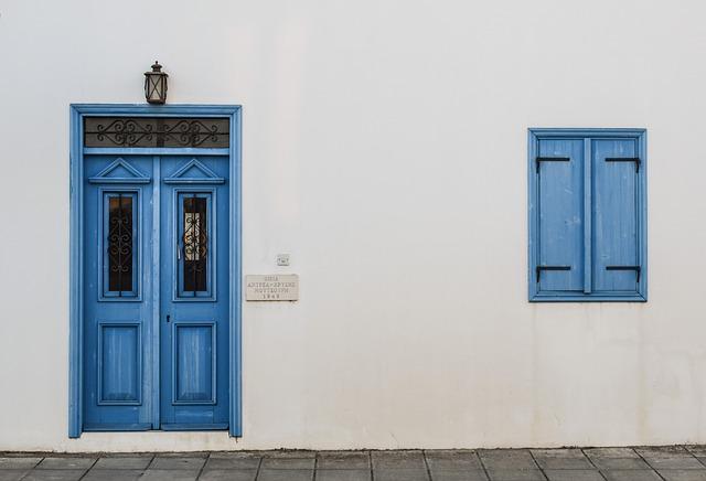 Door, Window, Wooden, Blue, Entrance, White, Wall