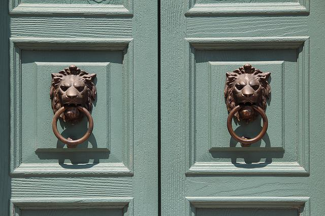 Doors, House Entrance, Doorknocker, Lion