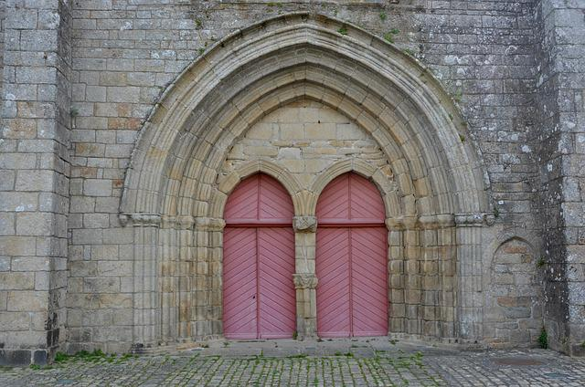 Portal Church Of Pont L'abbé, Brittany France, Doors