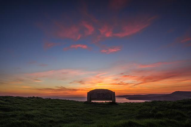 Sunset, Bench, Ocean, Coast, Dorset, England