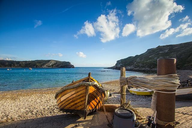 Bay, Ship, Ocean, Dorset, England