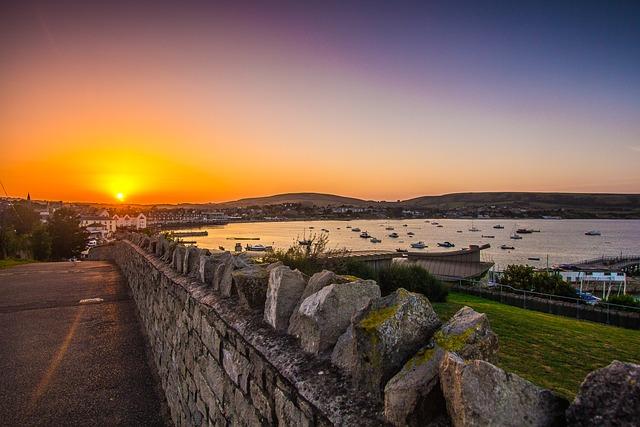 Swanage Bay, Dorset, Sea, Sunset