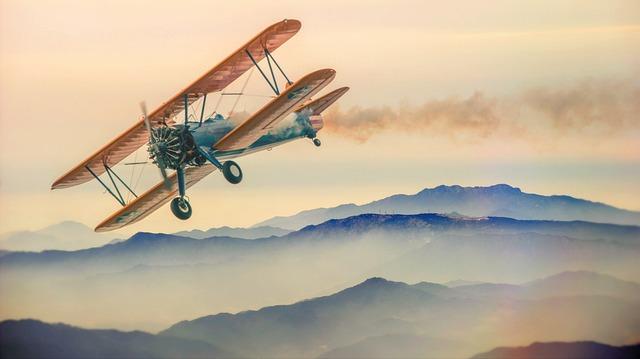 Double Decker, Plane, Mountains, Fog, Heaven, Clouds