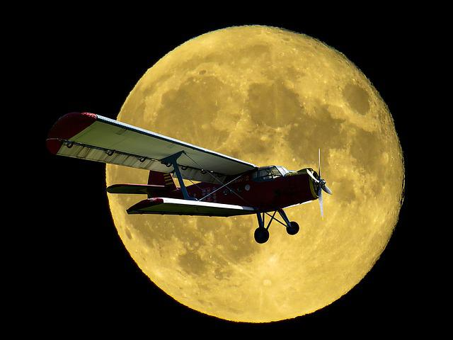 Aircraft, Double Decker, Propeller Plane, Fly, Moon