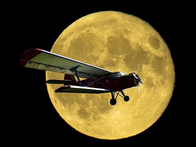 Aircraft, Double Decker, Propeller Plane, Fly, Moon