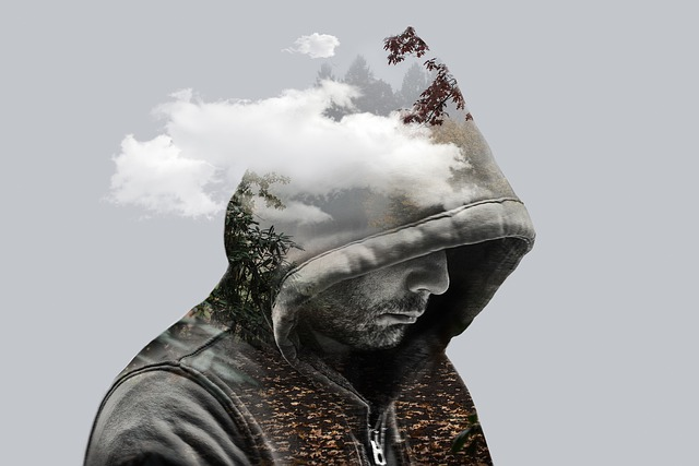 Double Exposure, Fantasy, Man, Model, Hooded, Clouds