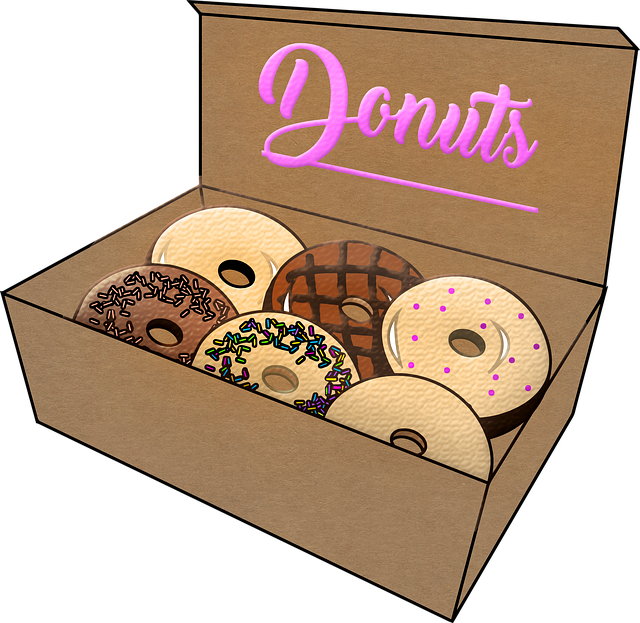 Donuts In Box, Donuts, Box, Doughnuts, Sugar, Chocolate