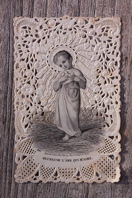 Devotional Picture, Santino, Top Edge, Jesus, Dove