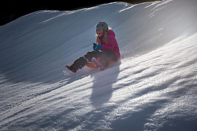 Child, Girl, Bob, Ride On, Slip, Downhill, Down, Winter