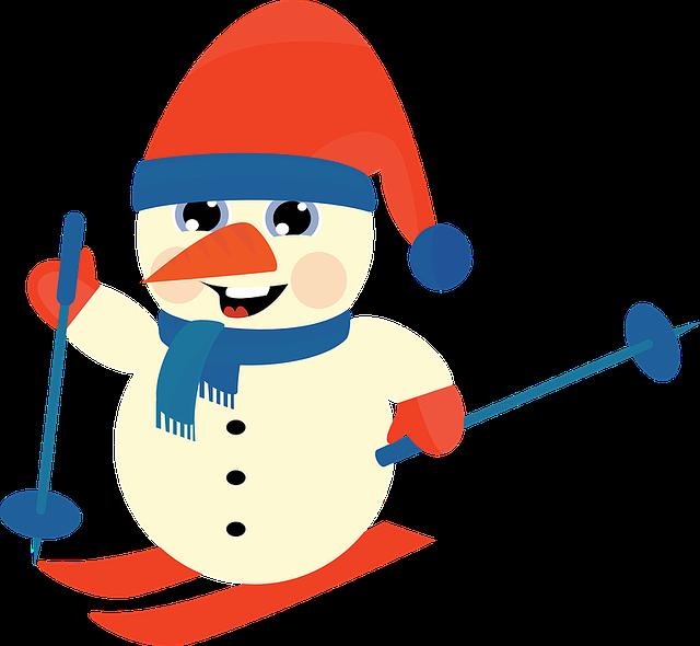 Snowman, Winter, Christmas, Ski, Downhill