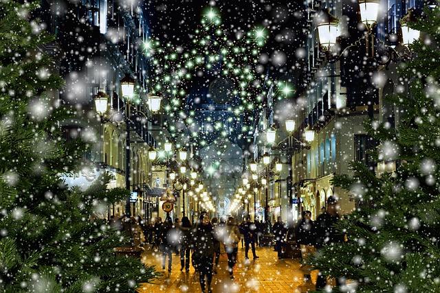 Christmas, Winter, Pedestrian Zone, Downtown, Shopping