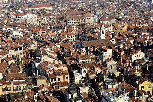 Venice, Homes, Bird's Eye View, Cityscape, Downtown