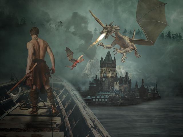 Human, A, Adult, Waters, Smoke, Dragon, Ship, Fantasy