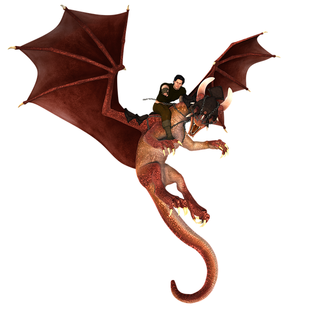 Man, Dragon, Red, Fly, Digital Art, Mythical Creatures
