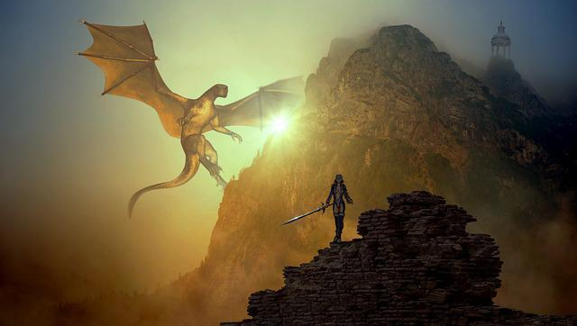 Fantasy, Dragons, Mountain, Light, Sage, Scene, Fighter