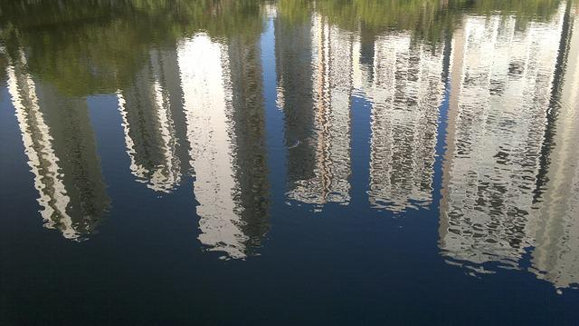 Goiânia, Reflection, Lake, Buildings, Drapacze Chmur