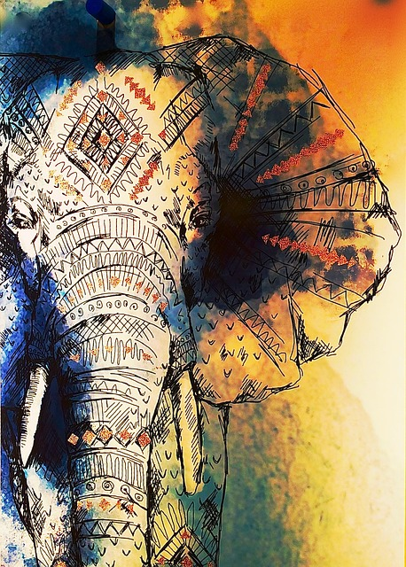 Drawing, Elephant, Colorful, Color, Painted, Painting