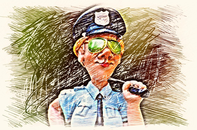 Policewoman, Police, Drawing, Colorful