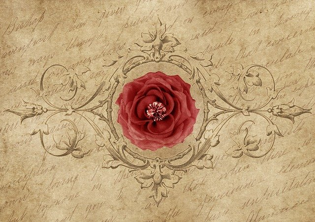 Rose, Frame, Diamond, Font, Drawing, Red Rose, Vintage