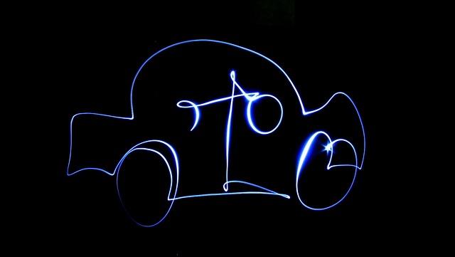 Car, Light Painting, Light, Drawing, Black Background