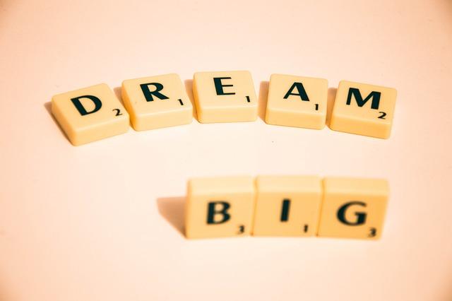 Scrabble, Dream Big, Note, Message, Quote