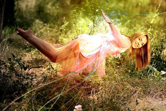 Girl, Levitation, Magic, Pink, Light, Dreaming, Beauty