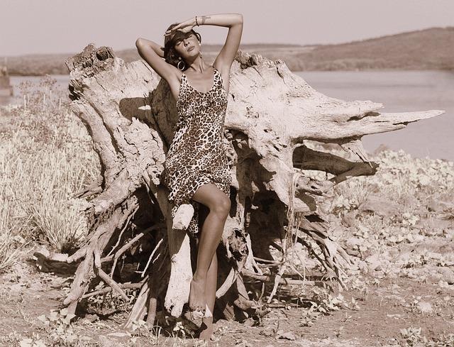 Girl, Wild, Roots, Water, Dress, Leopard, Beauty, Brown