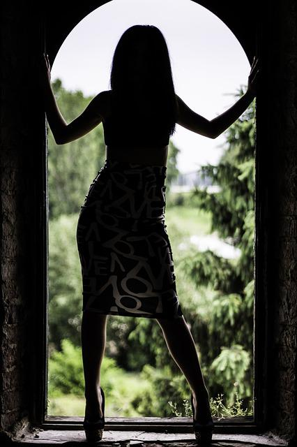 Girl, Backlight, Silhouette, Sexy, Dress, Shoes