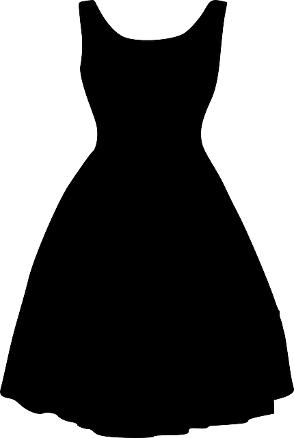Dress, Black, Silhouette, Clothing, Women, Retro, Prom
