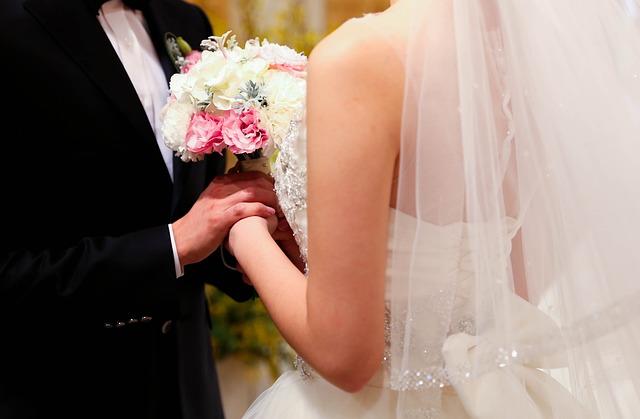Dress Up, Bouquet, Marriage, Wedding Dress, Priest
