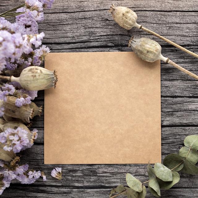 Template, Letter, Kraft, Dried Flowers, Flowers, Tree