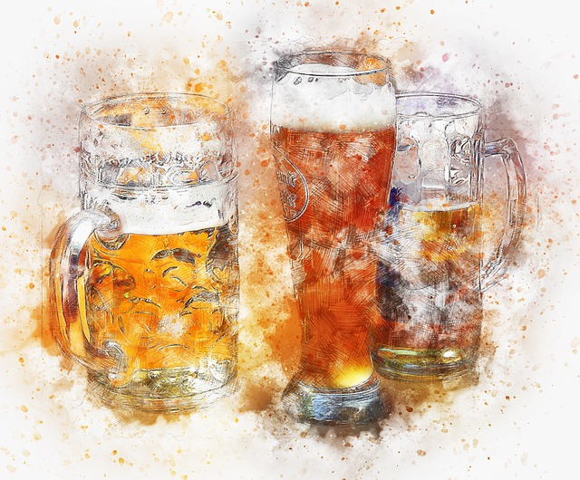 Beer, Drink, Art, Abstract, Watercolor, Vintage