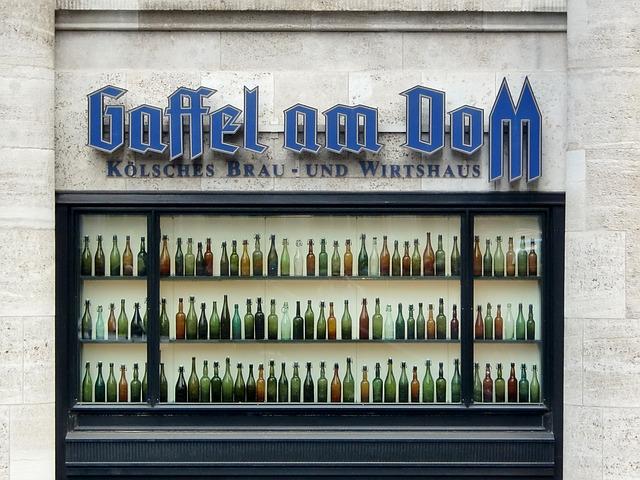 Cologne, Dom, Bottles, Brauhaus, Window, Drink Bottles