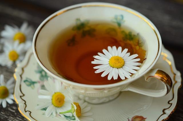 Chamomile, Chamomile Tea, Cup, Gold Edge, Drink