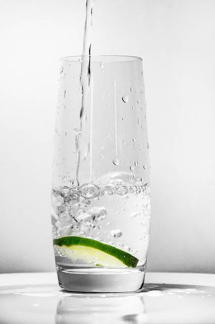 Glass For Water, Green Lemon, Water, Glass, Drink