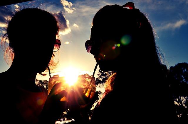 Drink, Drinking Straw, Evening Sun, Friends, Sun Rays