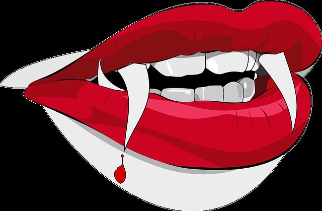Dracula, Fangs, Vampire, Blood, Drop, Lips, Halloween