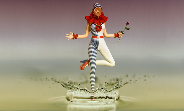 Harlequin, Clown, Drop Of Water, Inject, Water, Drip