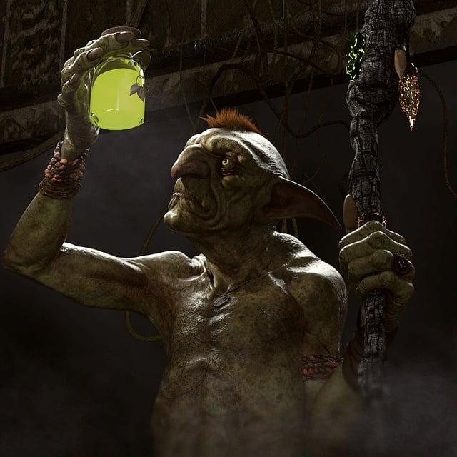 Goblin, Poison Bottle, Walking Stick, Druid, Monster