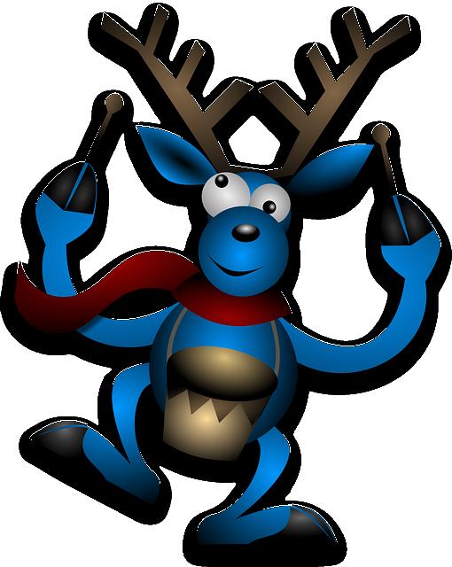 Reindeer, Drummer, Drumming, Blue, Christmas, Noel