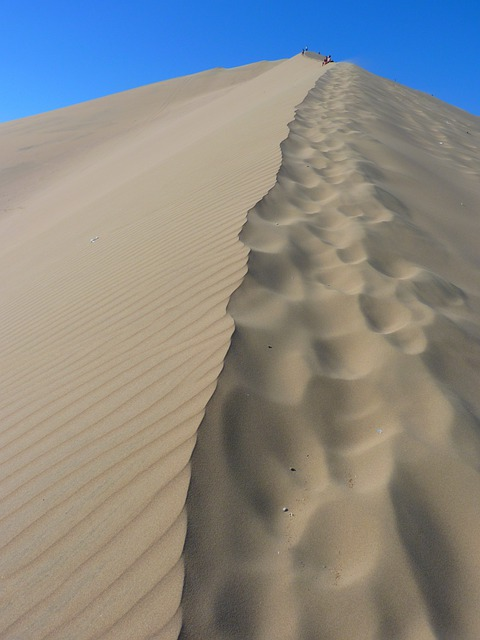 Dune, Desert, Dry, Hot, Sand, Dune Ridge, Footprints