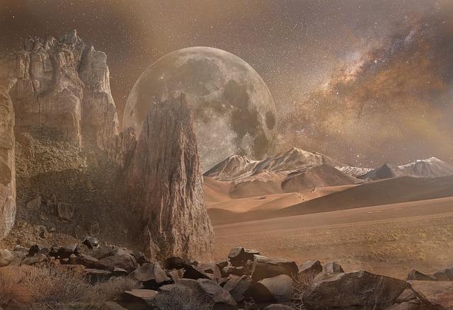 Fantasy Landscape, Dry, Mars, Desert, Galaxy, Planet