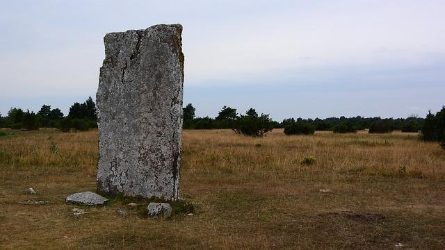 Menhir, Stone, Stone Column, Landscape, Dry Grass