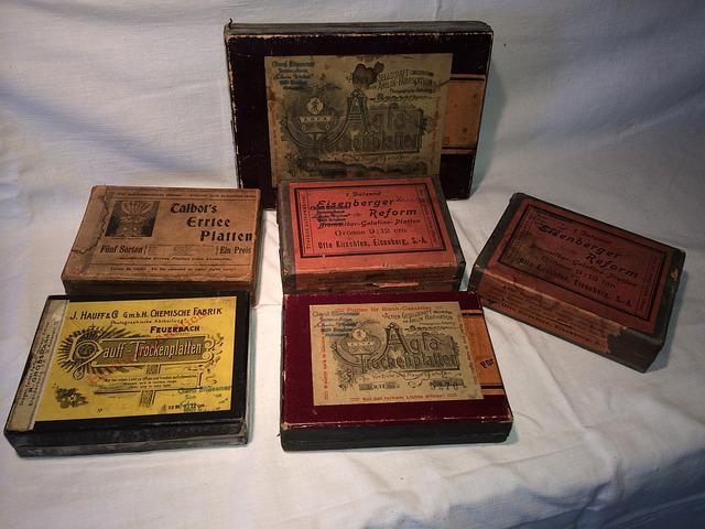 Photo Plates, Photography, Boxes, Vintage, Dry Plates